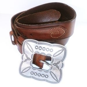 Ladies Vintage Genuine Leather Heart Sewn Belt XL